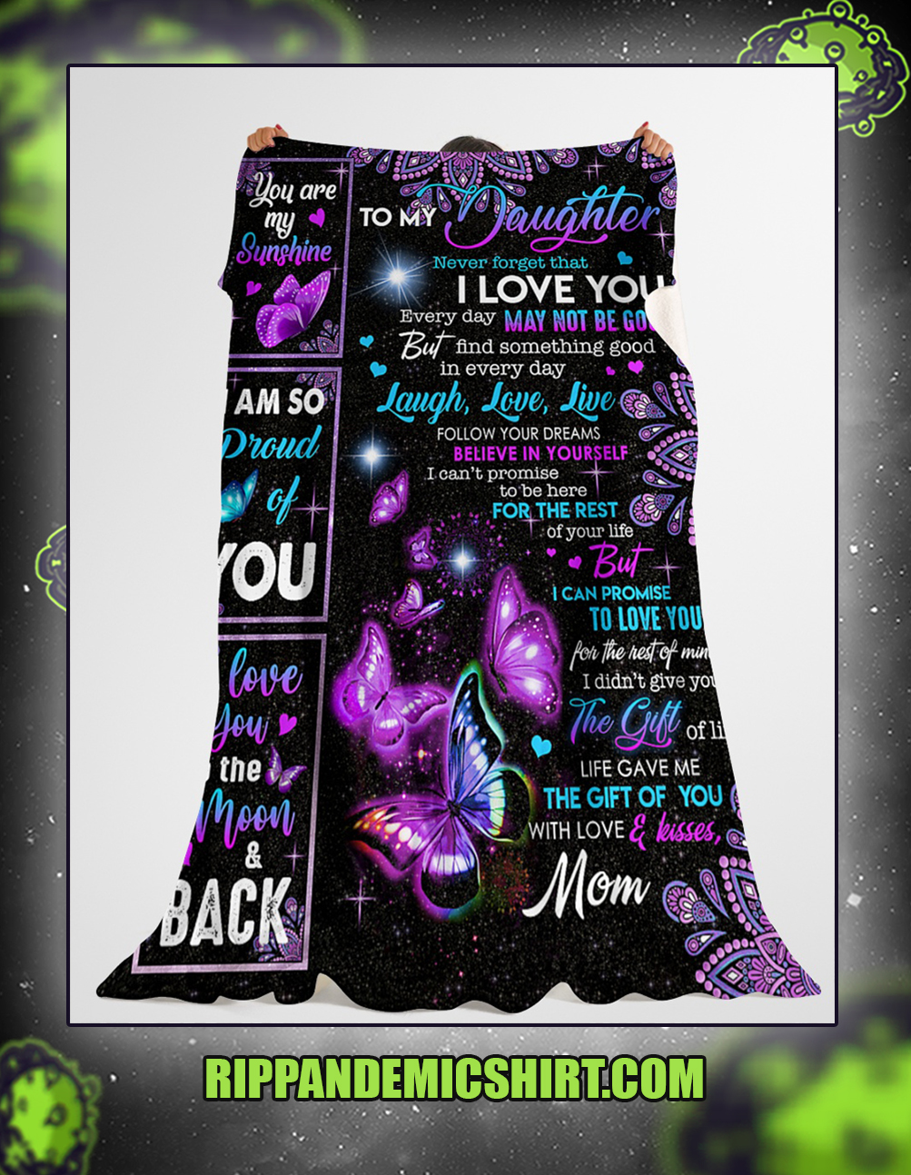 Butterfly To my daughter never forget that i love you blanket x-large