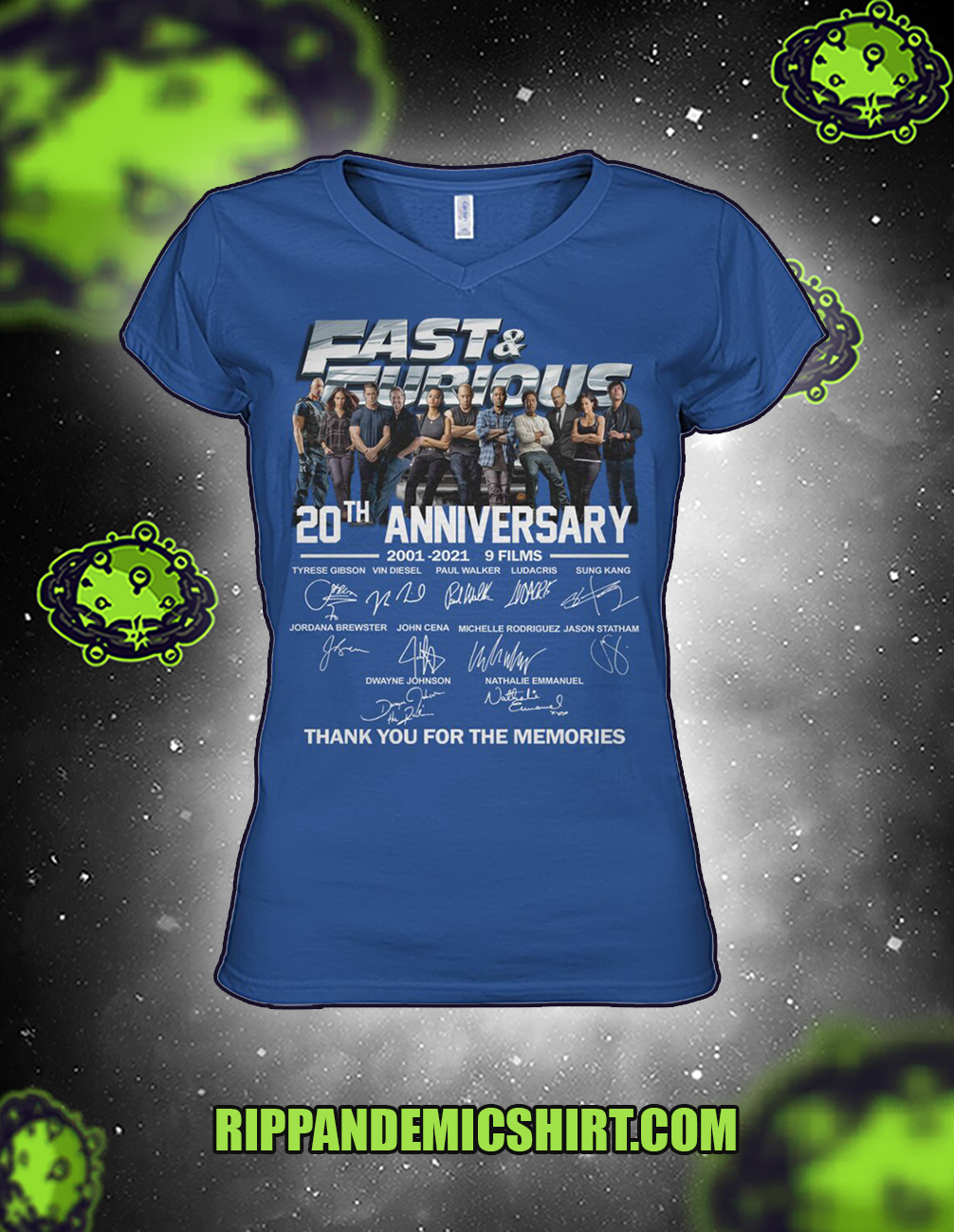 Fast and furious 20th anniversary thank you for the memories woman v-neck