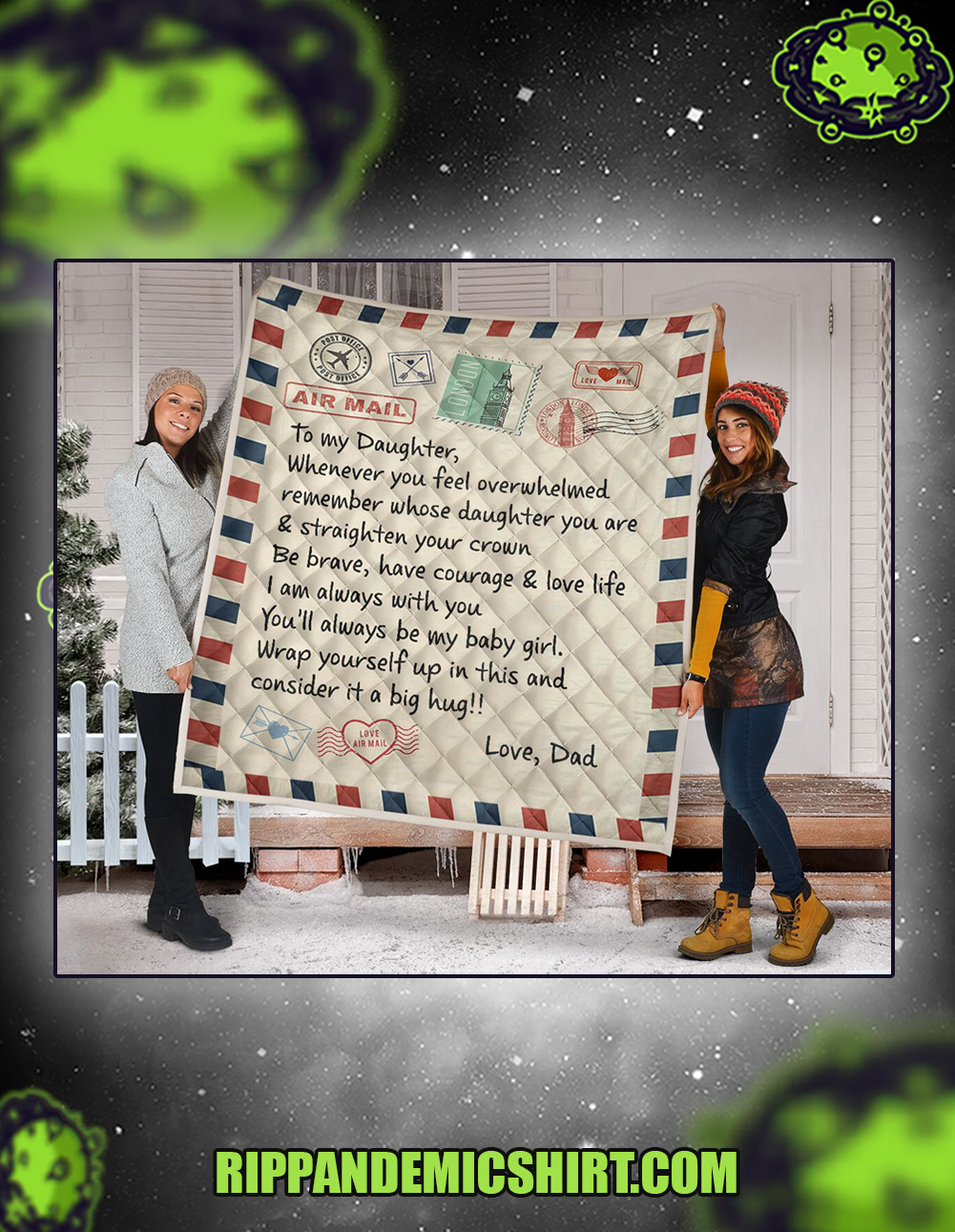 Letter air mail to my daughter love dad quilt queen