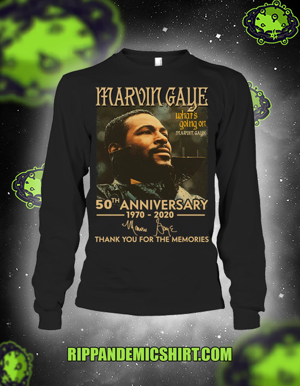 Marvin Gaye 50th anniversary thank you for the memories long-sleeved