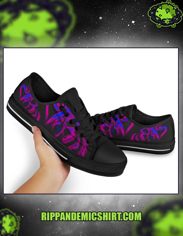 Purple skull low top shoes pic 1
