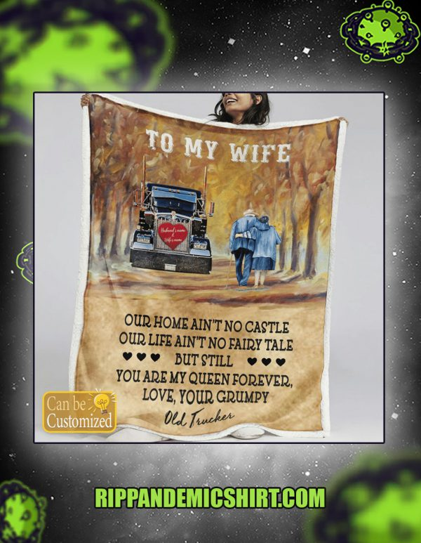 Trucker to my wife personalized custom name blanket large