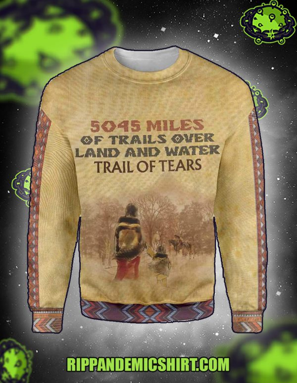 5045 miles of trails over land and water all over printed sweatshirt and jumper front
