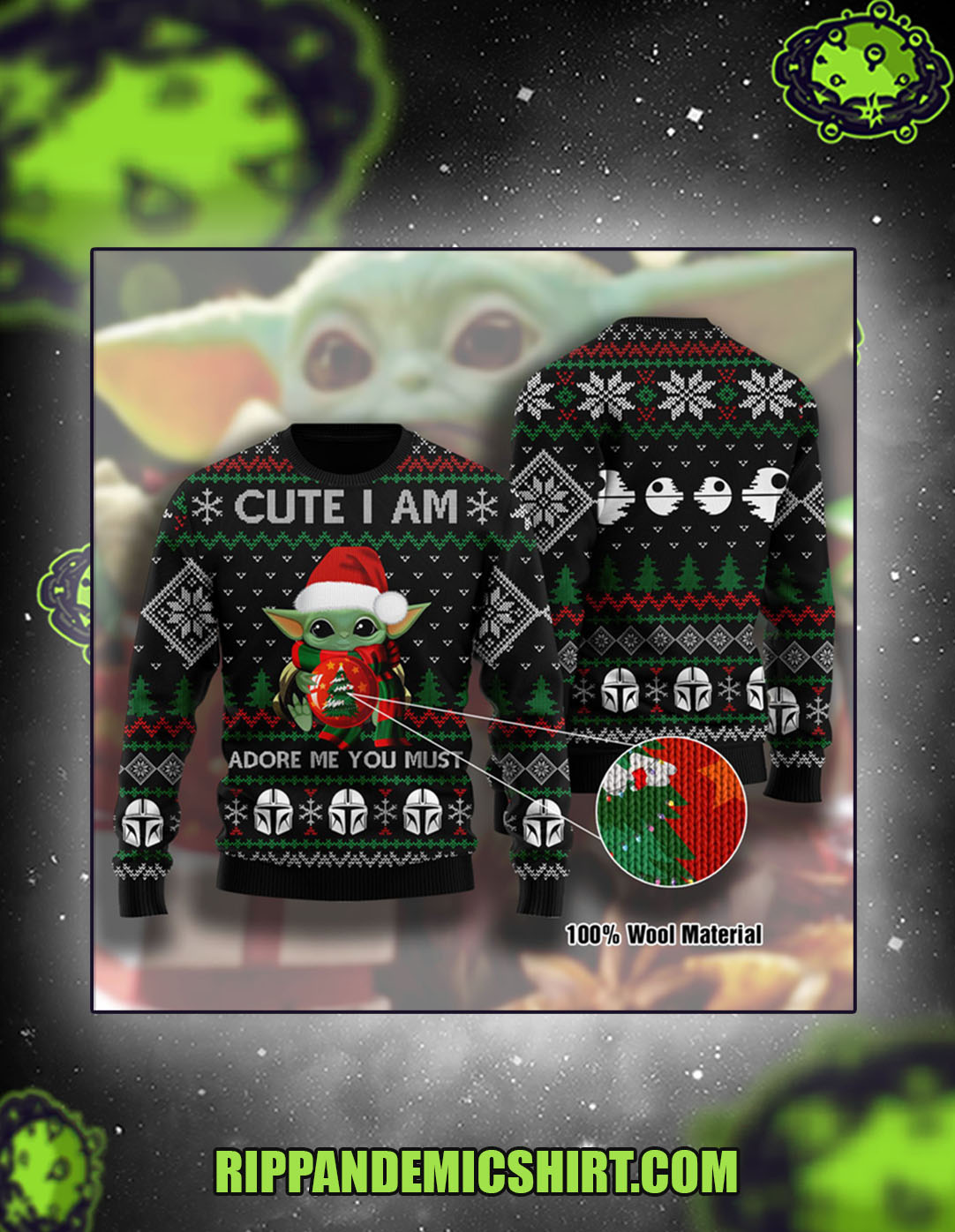 Baby yoda cute i am adore me you must christmas sweater size M