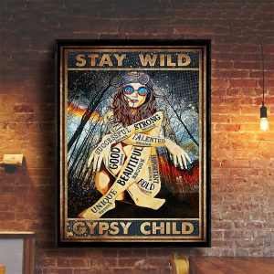 Hippie girl glasses stay wild gypsy child poster A1