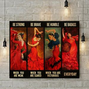 Latin dance Girl be strong poster A1