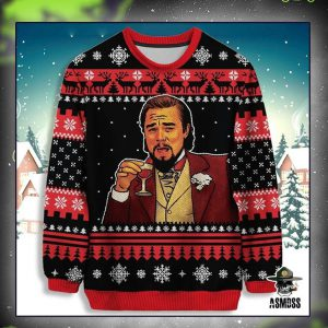 Leonardo DiCaprio drinking christmas sweater and jumper