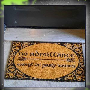 No admittance except on party business doormat