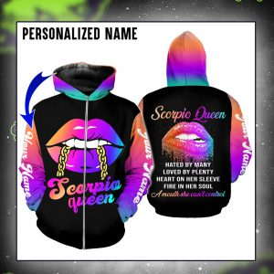 Personalized custom name Scorpio queen lips 3d all over printed zip hoodie