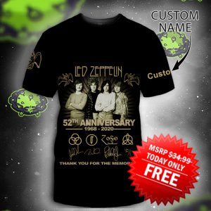 Led zeppelin 52th anniversary personalized custom name 3d shirt size L