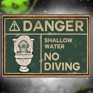 Scuba diver danger shallow water no diving poster