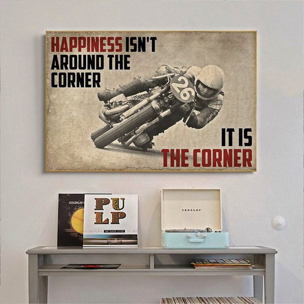 Motor racing happiness isn't around the corner it is the corner canvas prints medium
