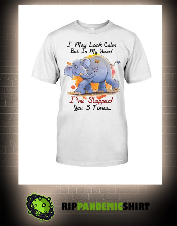 Elephant and butterfly I may look calm but in my head I've slapped you 3 times shirt