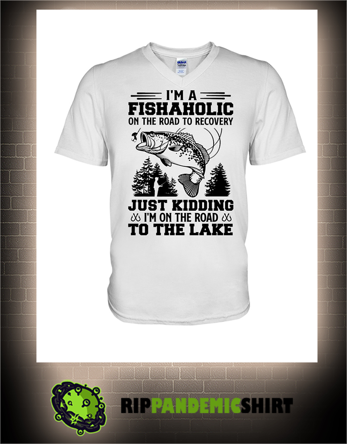 Fishing I'm a fishaholic on the road to recovery v-neck