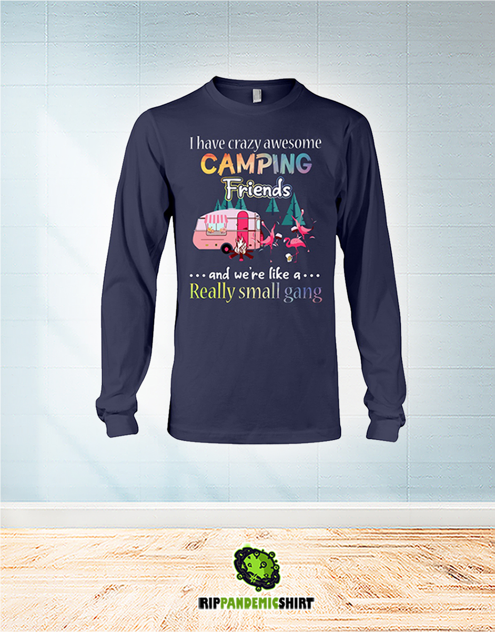 Flamingo I Have Crazy Awesome Camping Friends And We're Like A Really Small Gang long sleeve