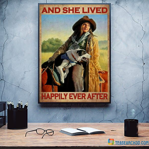 Girl dog and horse and she lived happily ever after poster