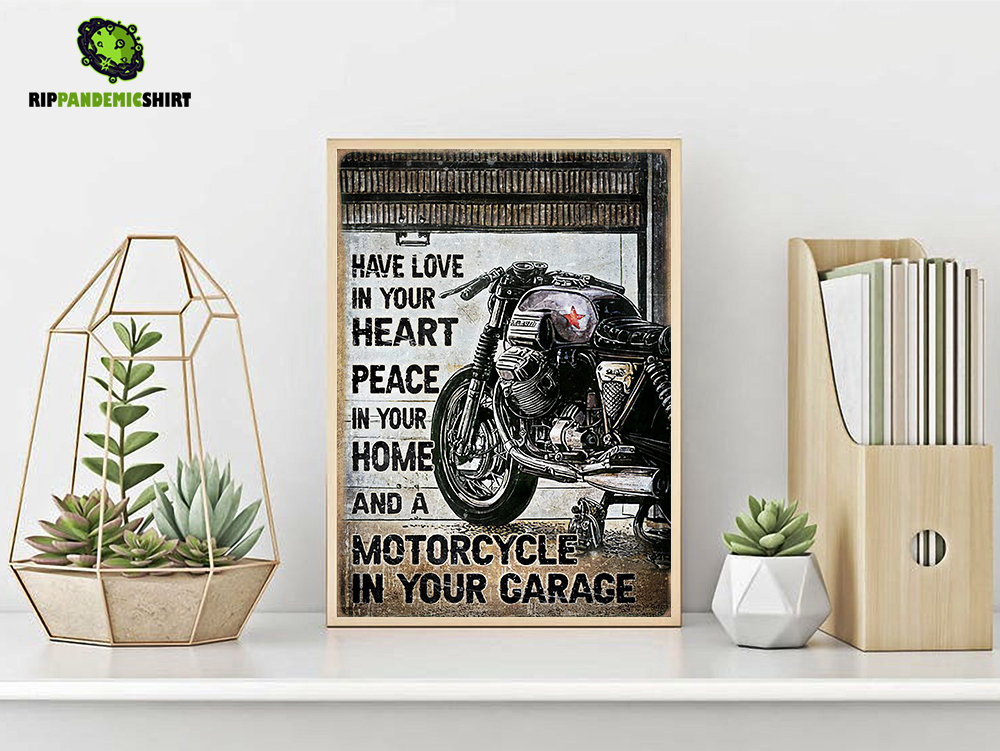 Motorcycle have love in your heart peace in your home poster A2