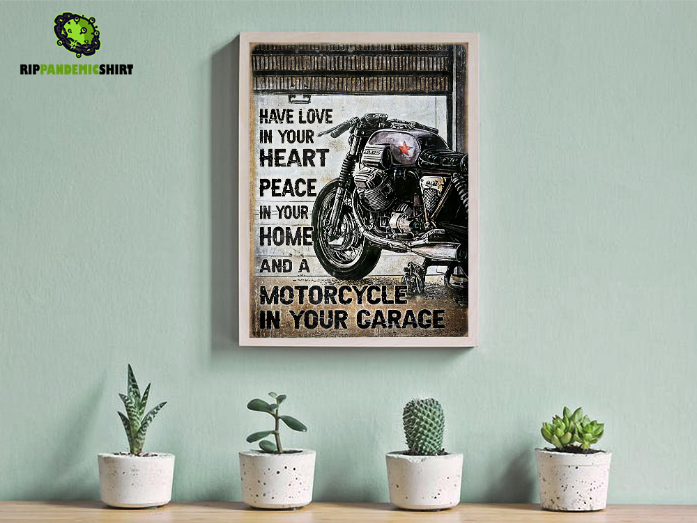 Motorcycle have love in your heart peace in your home poster A3