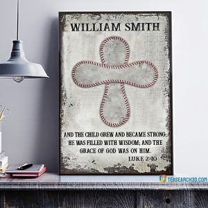 Personalized baseball and the child grew customized poster