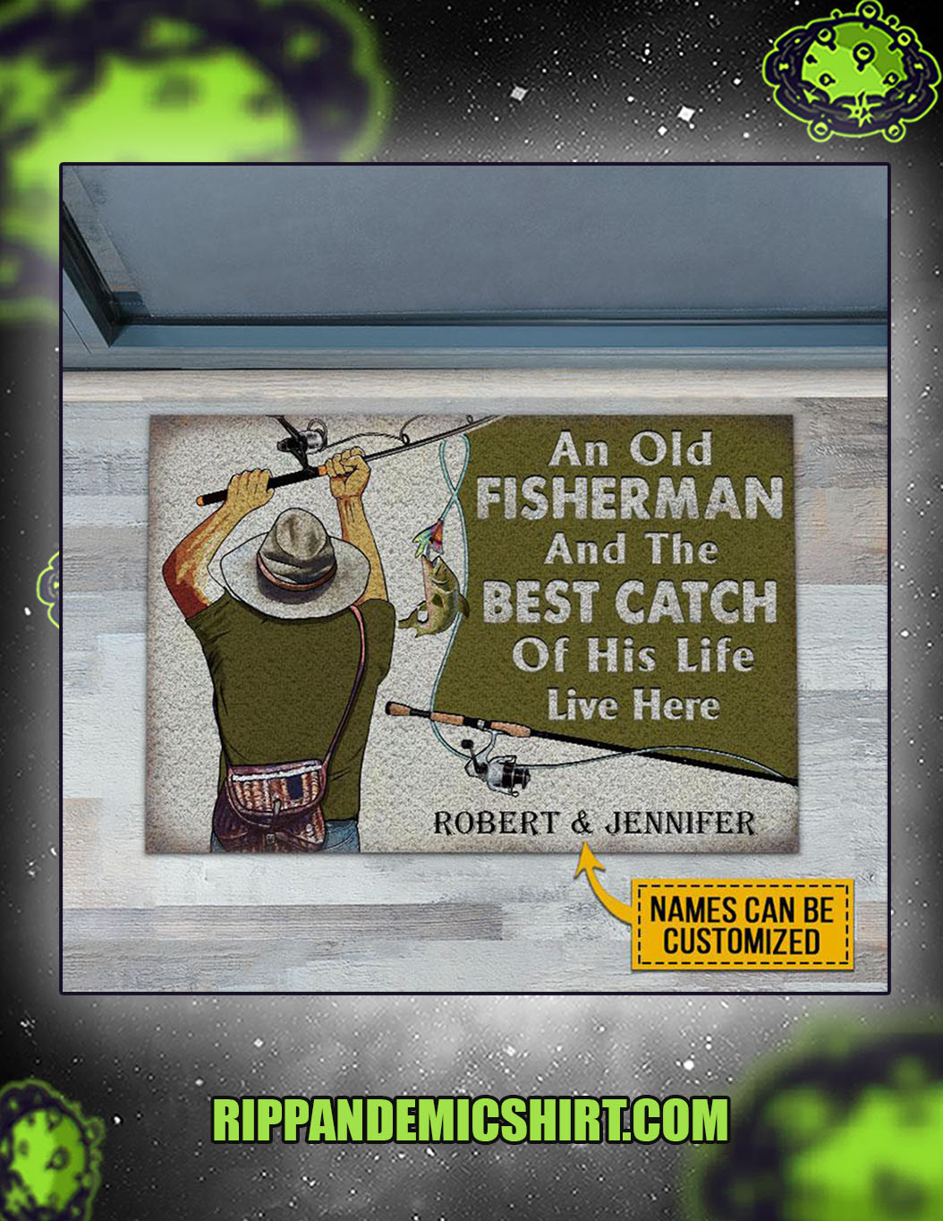 Personalized custom name fishing old couple live here doormat 1