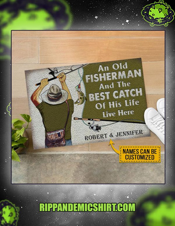 Personalized custom name fishing old couple live here doormat 2