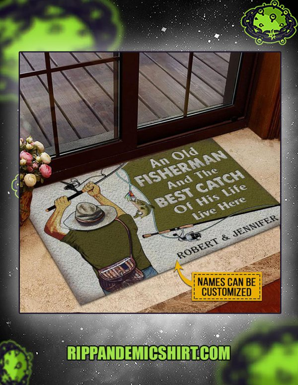Personalized custom name fishing old couple live here doormat