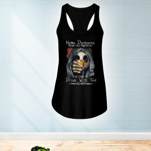 Skull jack skellington Hello darkness my old friend I've come to drink with you again flowy tank