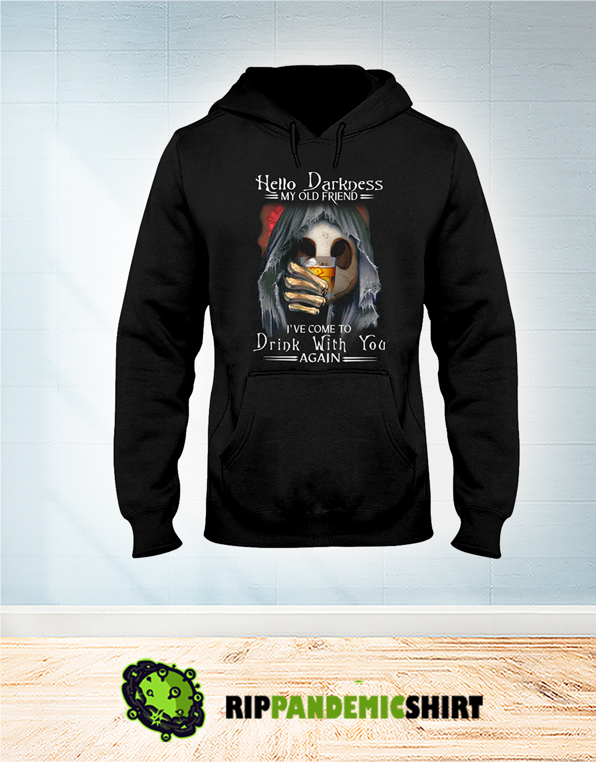 Skull jack skellington Hello darkness my old friend I've come to drink with you again hoodie