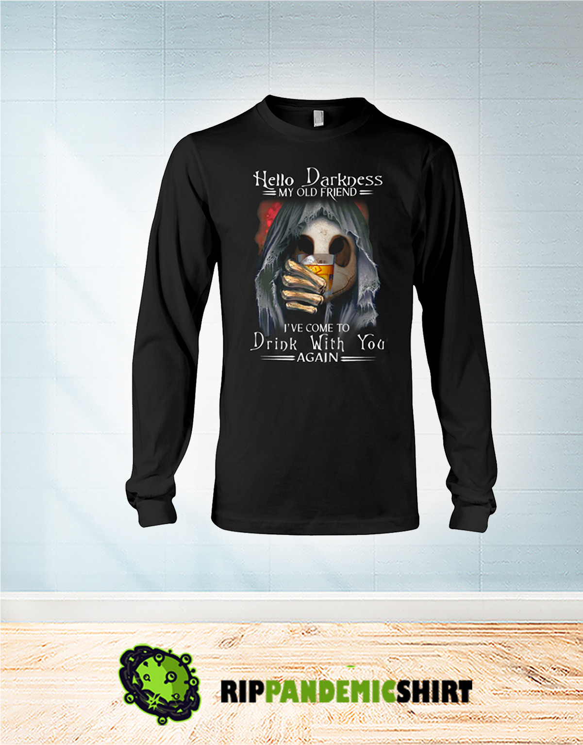 Skull jack skellington Hello darkness my old friend I've come to drink with you again long sleeve