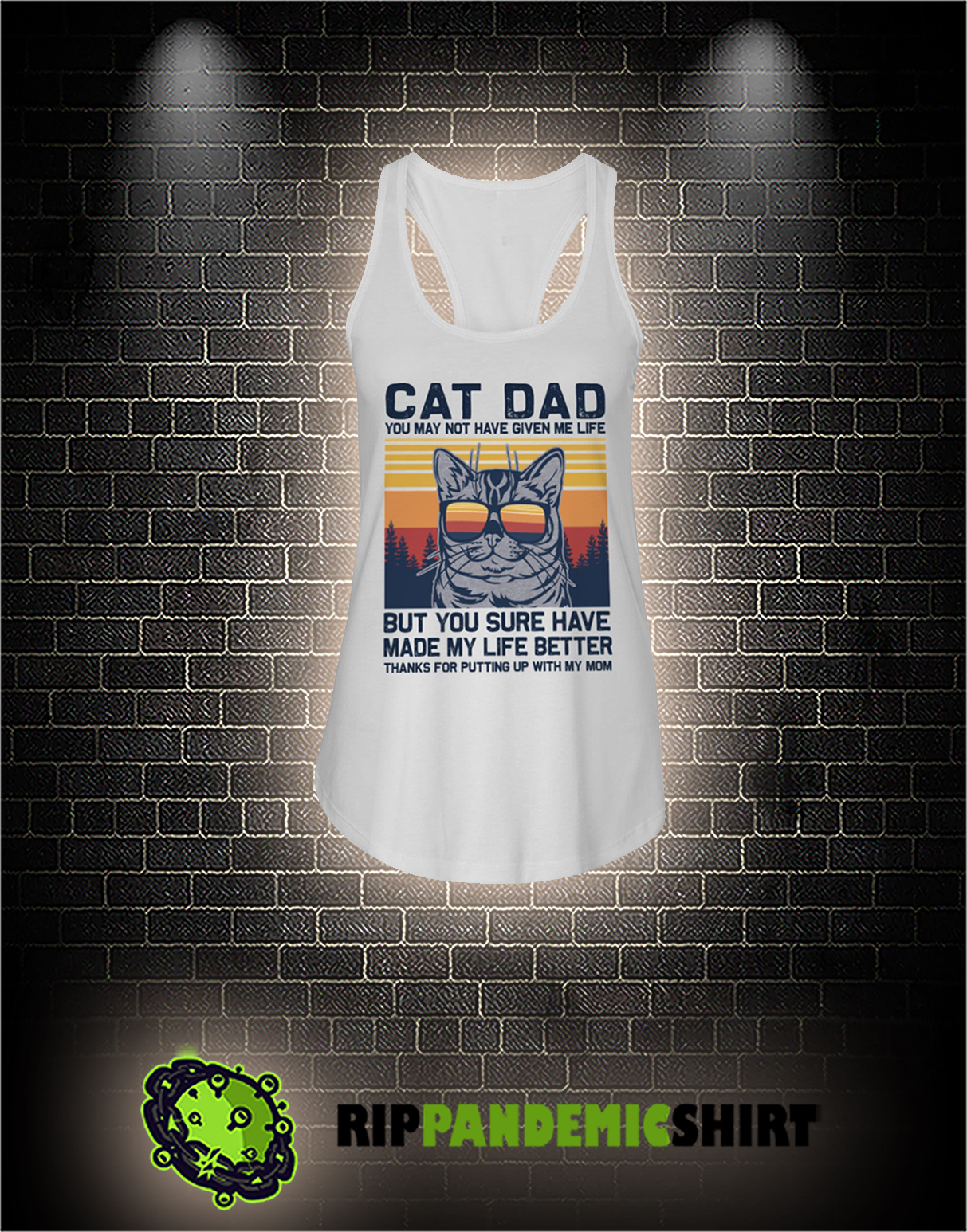 Vintage Cat dad you may not have given me life flowy tank