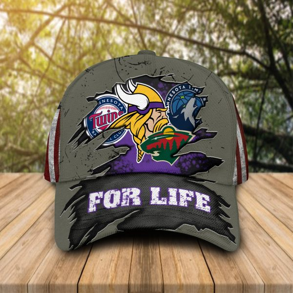Minnesota Vikings With Twins, Timberwolves, Wild For Life Hat Cap